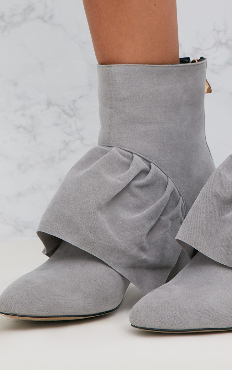 Grey Faux Suede Frill Ankle Boots 5