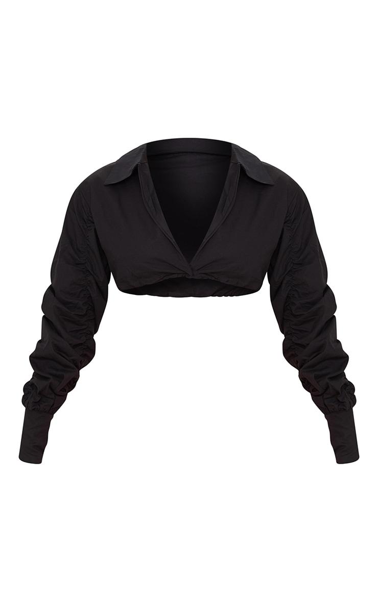 Chemise courte en maille noir profond à manches froncées 5