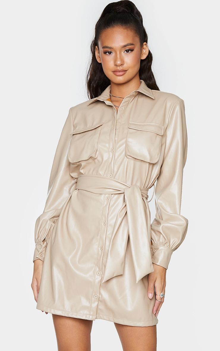 Stone Faux Leather Pocket Detail Shirt Dress 1