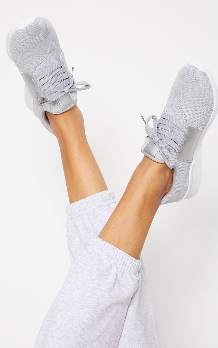 Grey Knitted Trainers 2