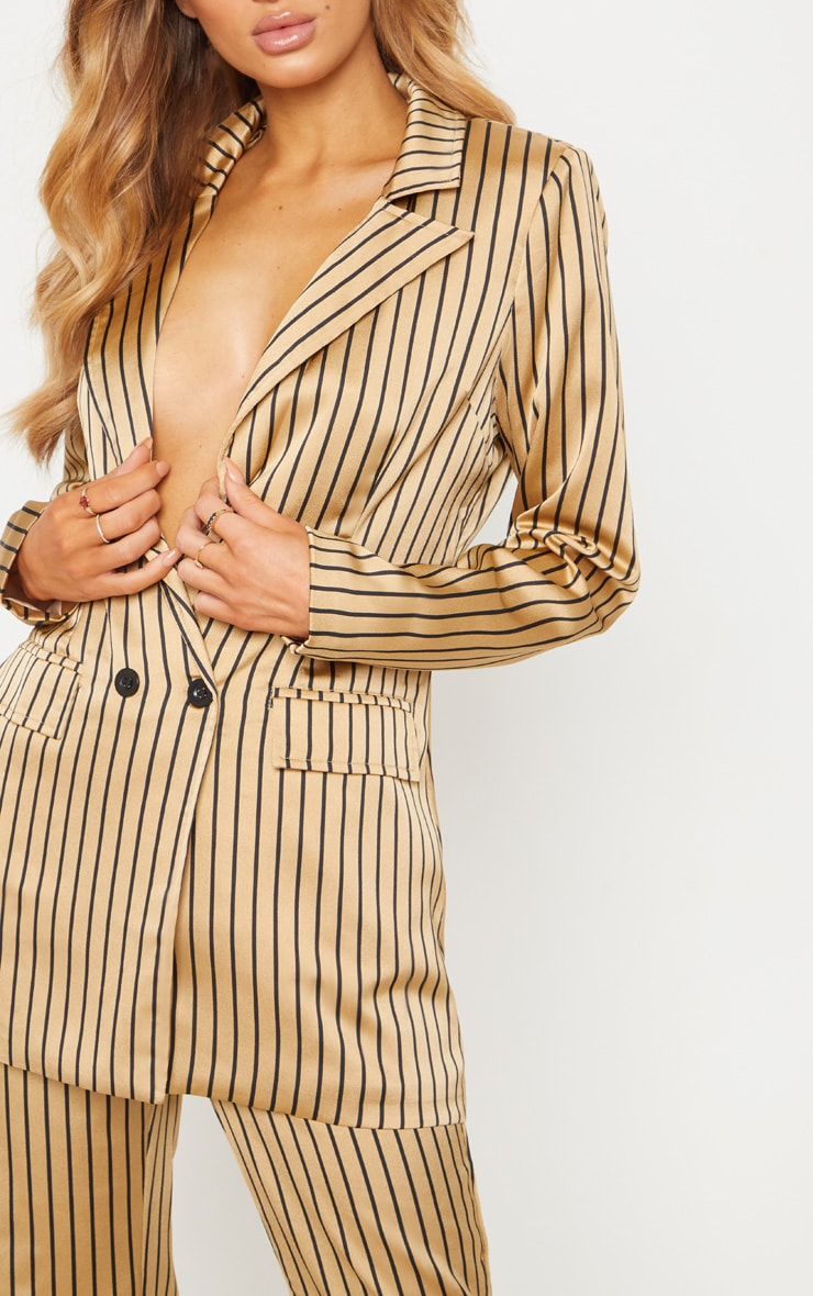 Stone Satin Pin Stripe Double Breasted Blazer 5