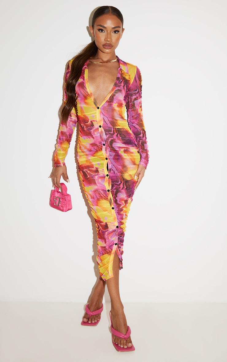 Petite Brown Tiger Print Ruched Mesh Midi Dress 1