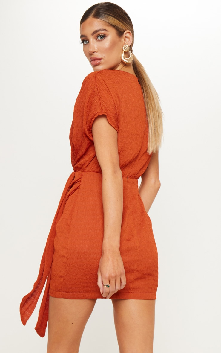Burnt Orange Textured Drape Bodycon Dress 2