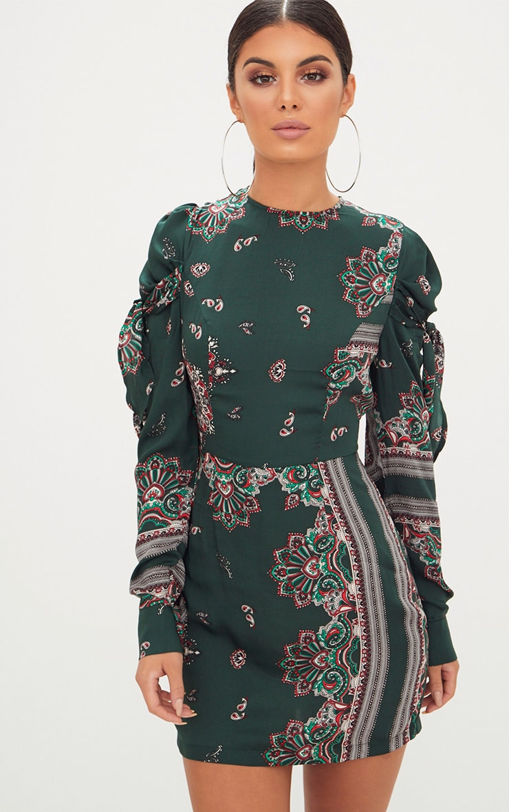 Green Scarf Print Long Sleeve Tie Detail Bodycon Dress 1