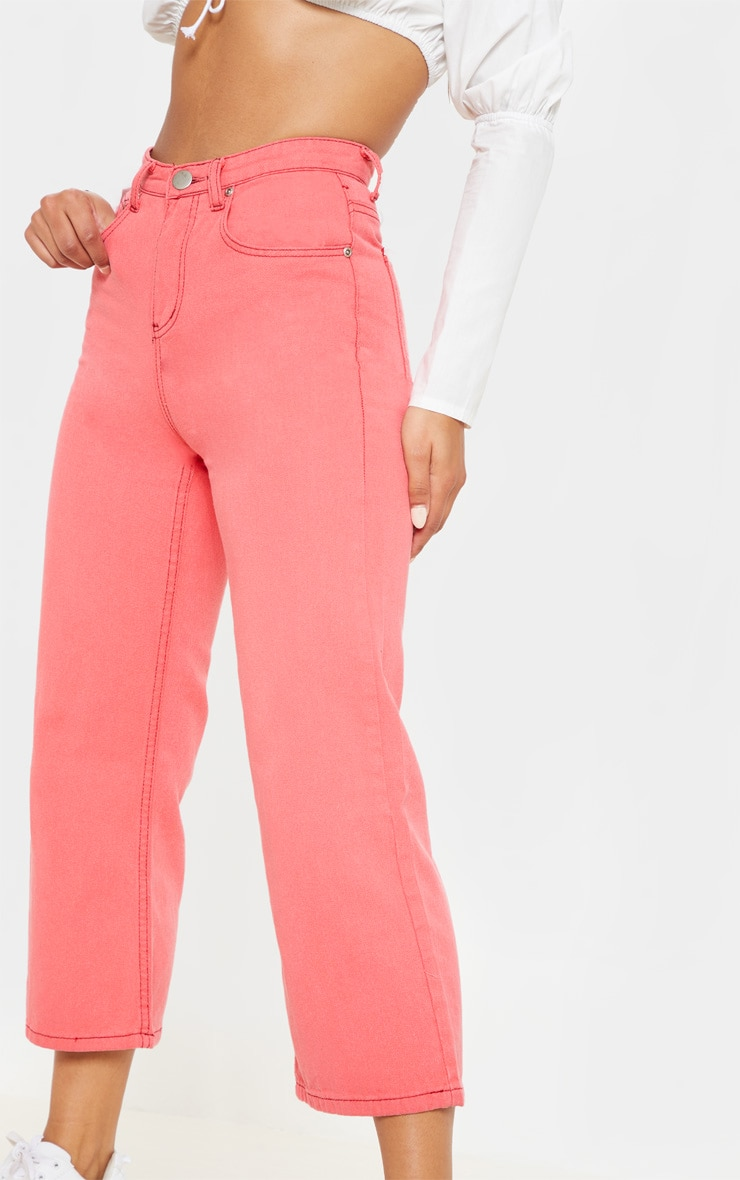 Washed Pink Wide Leg Utility Cargo Jeans 5