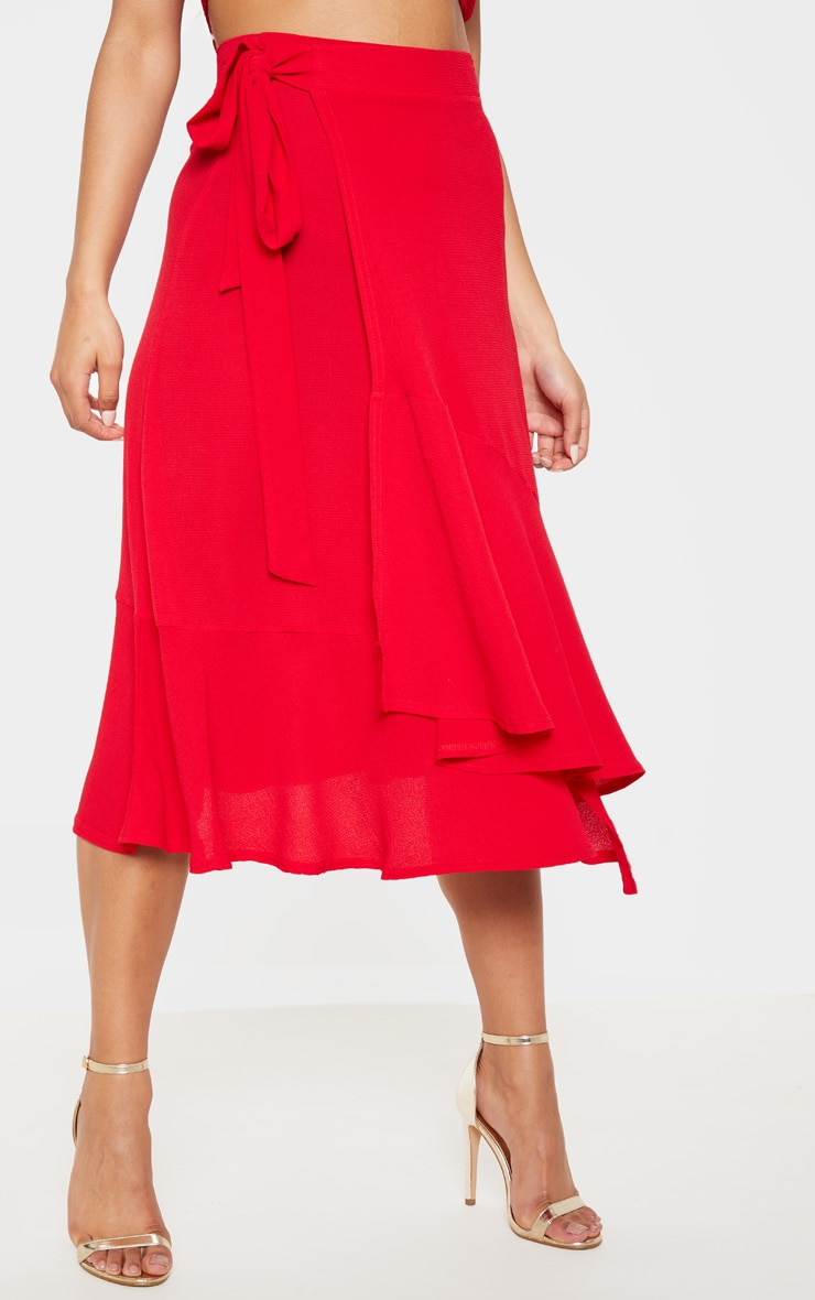 Red Frill Hem Wrap Midi Skirt 2