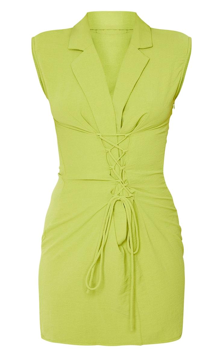 Robe moulante vert citron effet lin à épaulettes et lacets détail sans manches 5