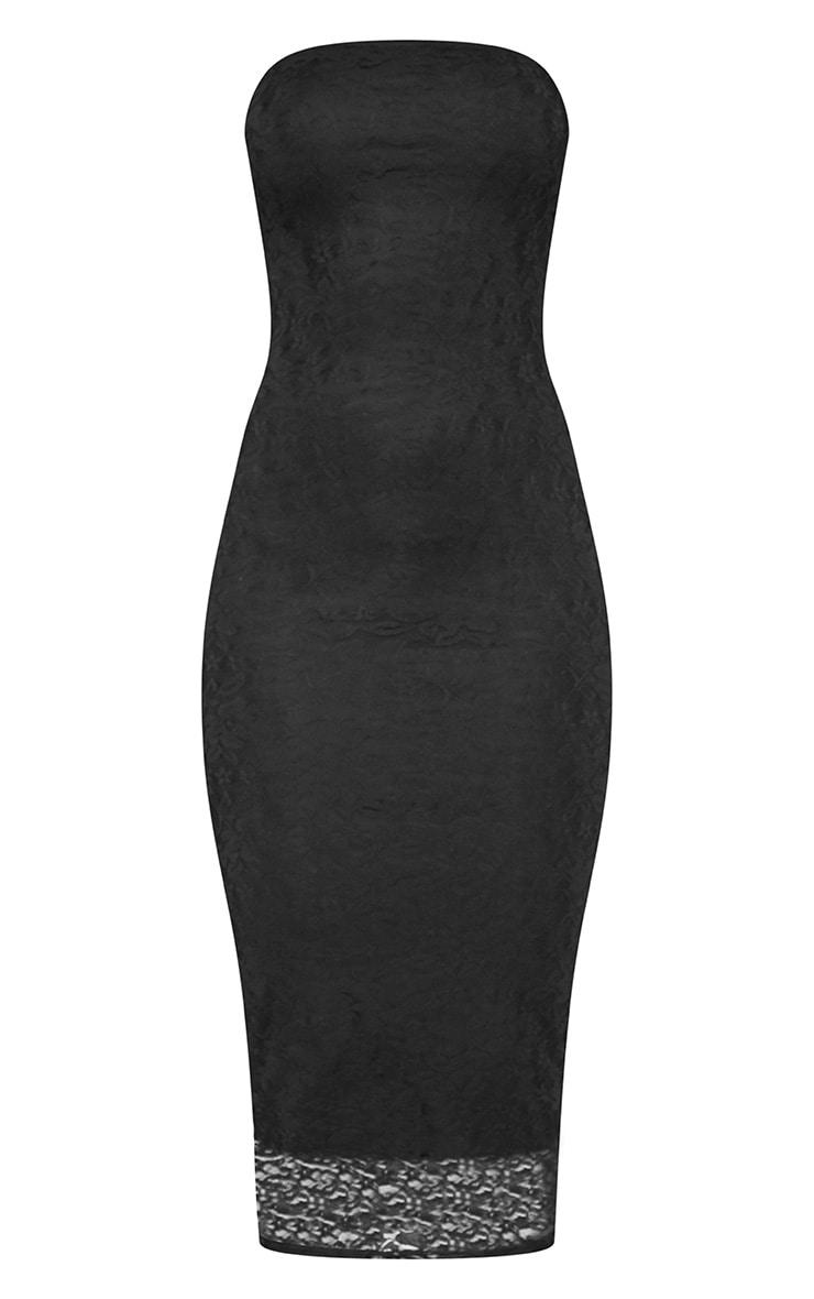 Black Lace Bandeau Midi Dress 3