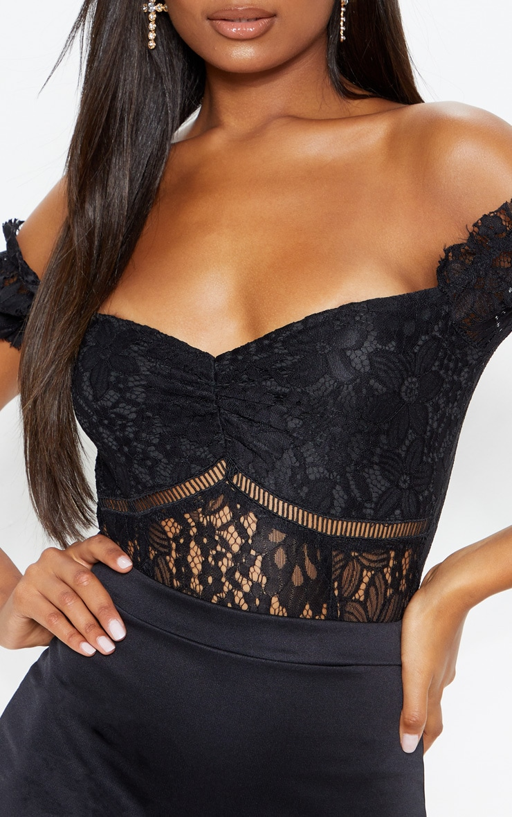 Black Bardot Lace Bodysuit 5