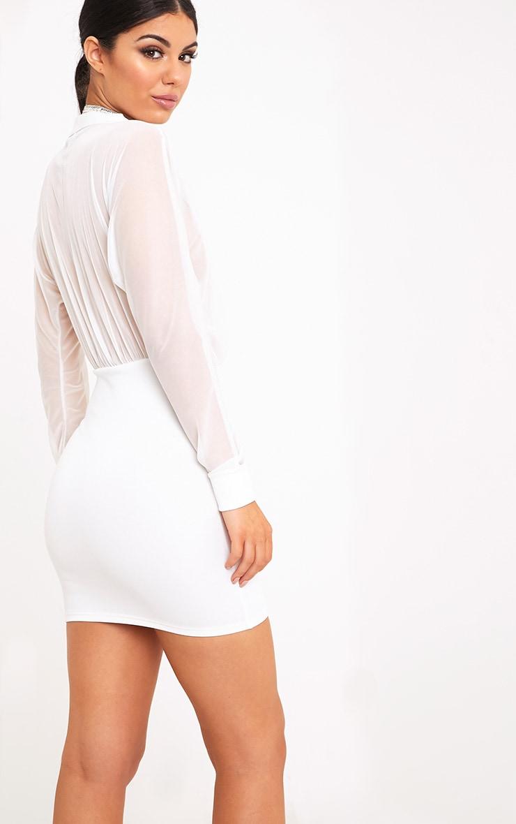 Trudy White Mesh Plunge Bodycon Dress 2