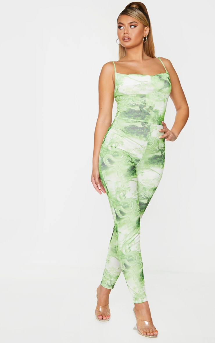 Lime Printed Cowl Neck Mesh Jumpsuit 1
