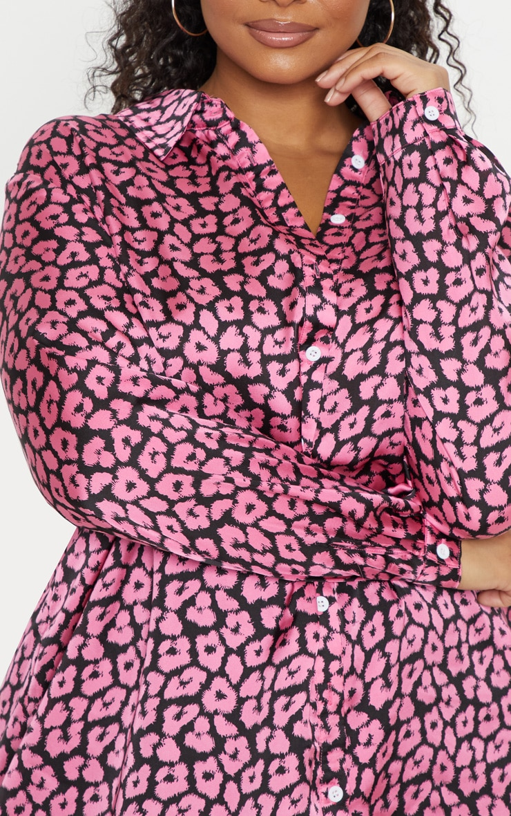 Plus Bright Pink Leopard Print Oversized Shirt   5