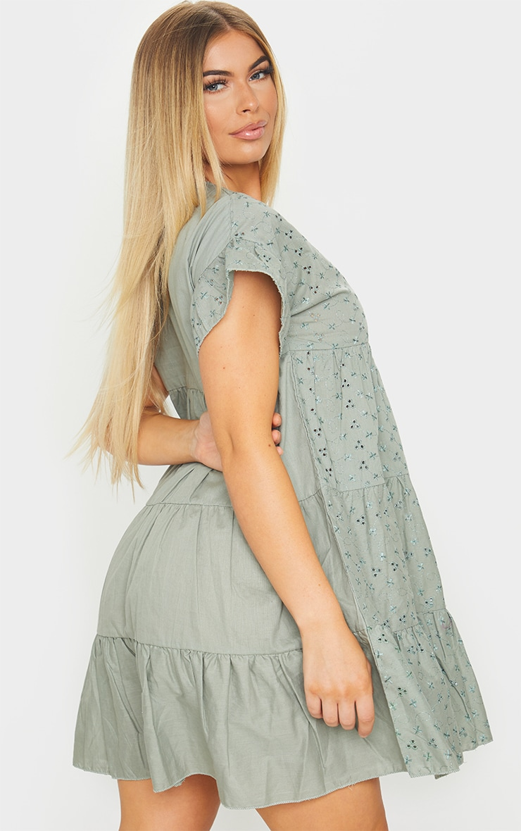 Sage Green Broderie Anglaise Smock Dress 2