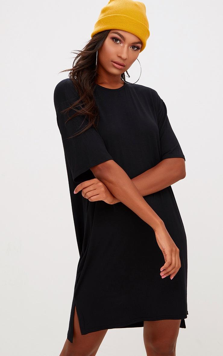 Black Jersey Stepped Hem T Shirt Dress 1