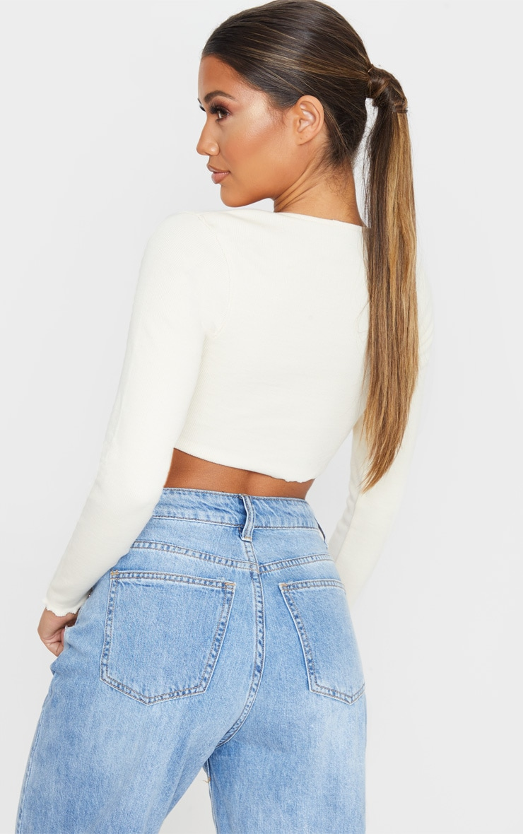 Cream Frill Edge Crop Knitted Top 3