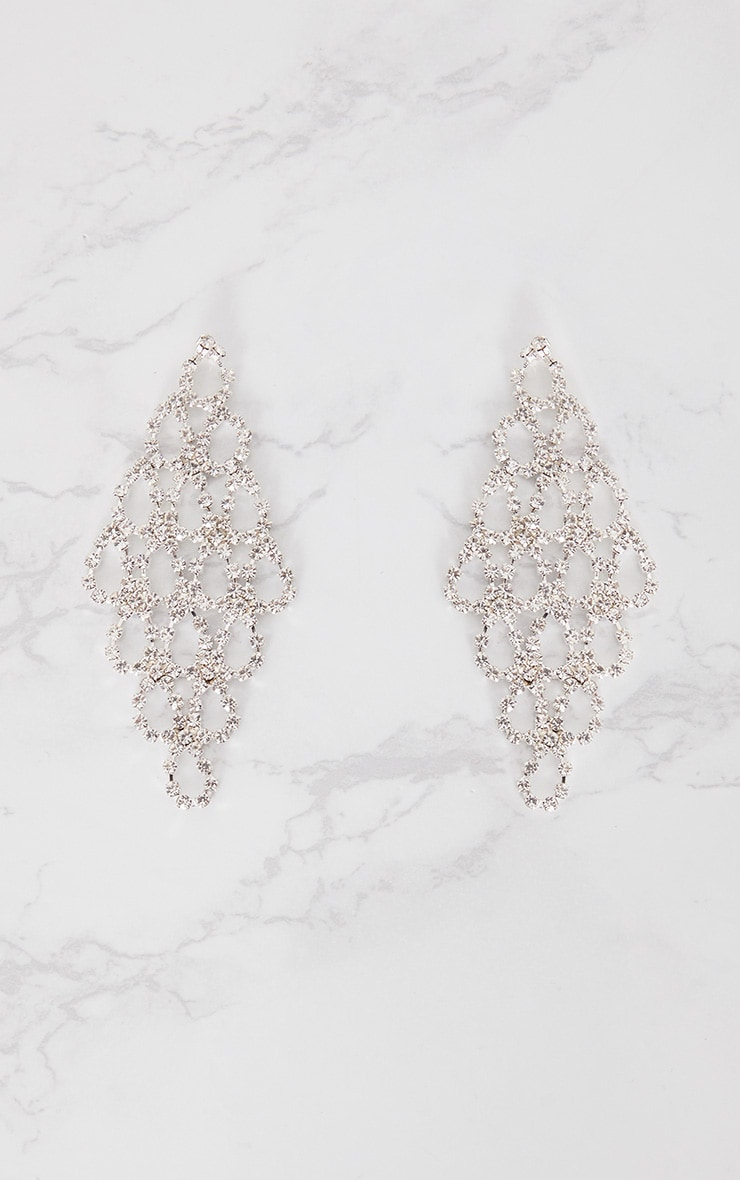 Silver Diamante Teardrop Earrings 3