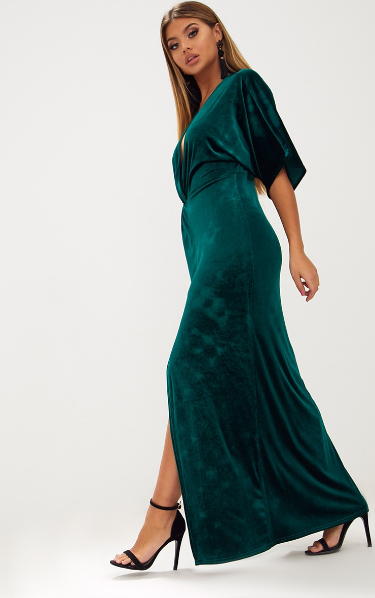 Emerald Green Velvet Kimono Sleeve Maxi Dress 4