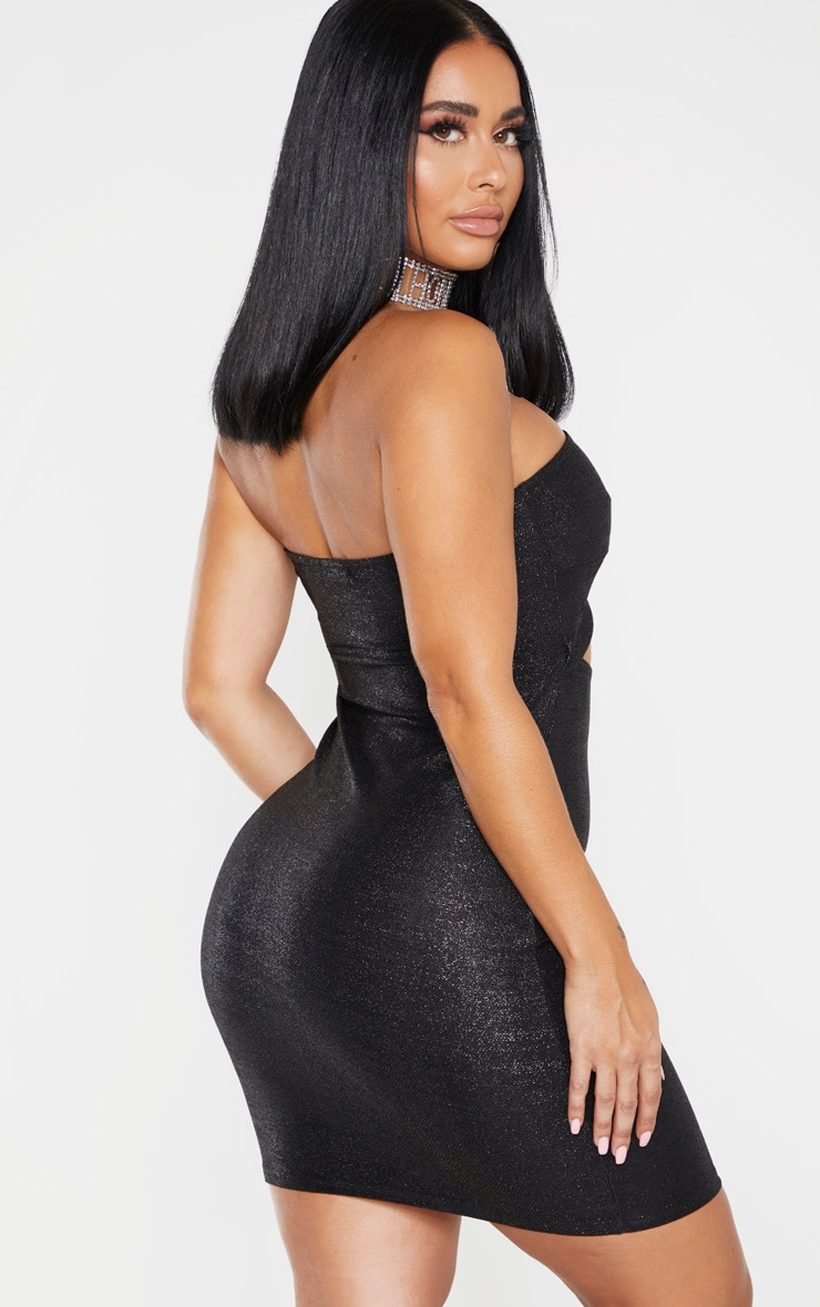 Shape Black Glitter Cut Out Bandeau Bodycon Dress 2
