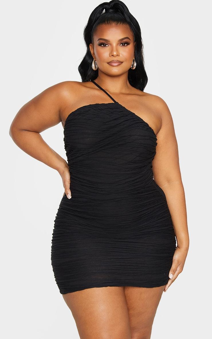Plus Black Textured Asymmetric Ruched Dress 3