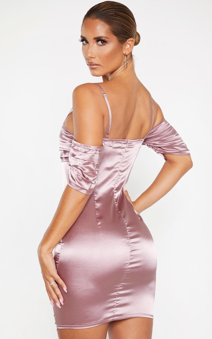Mauve Satin Ruched Bust Cold Shoulder Bodycon Dress 2