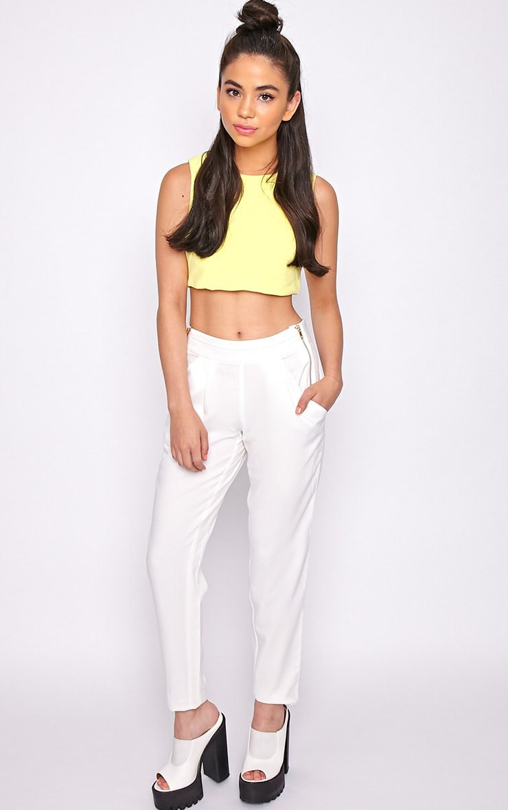 Breanna White Tailored Linen Trousers 1