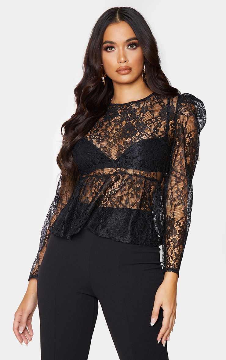 Black Sheer Lace Puff Sleeve Blouse 1