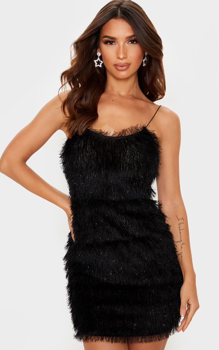 Black Tiered Fringed Strappy Bodycon Dress 1