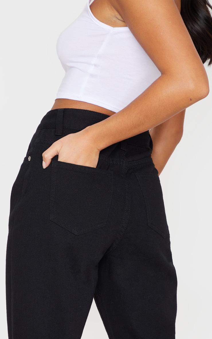 Petite Black Basic Turn Mom Jean 5