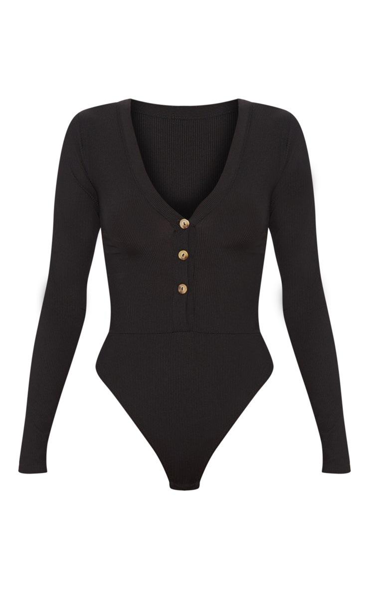 Black Long Sleeve Button Detail Bodysuit 3