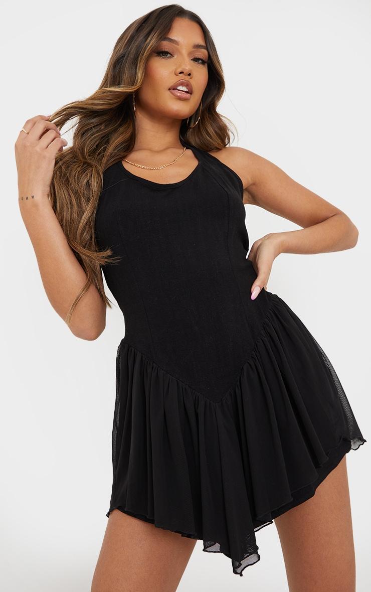 Black Linen Look Bodice Mesh Skirt Halterneck Shift Dress 1