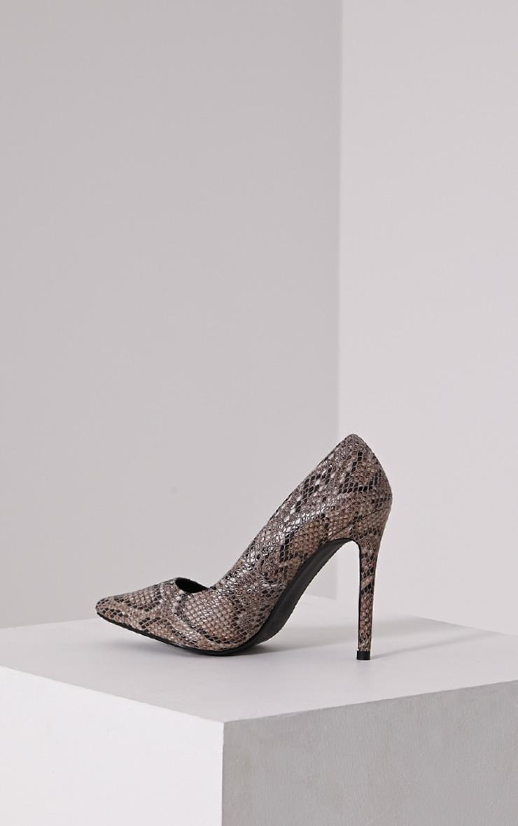 Tina Natural Snakeskin Court Shoes 4
