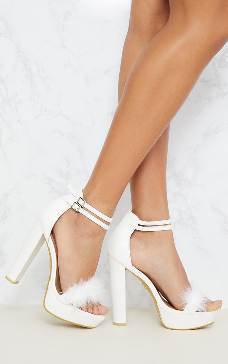Shea White Feather PU Platform Sandals