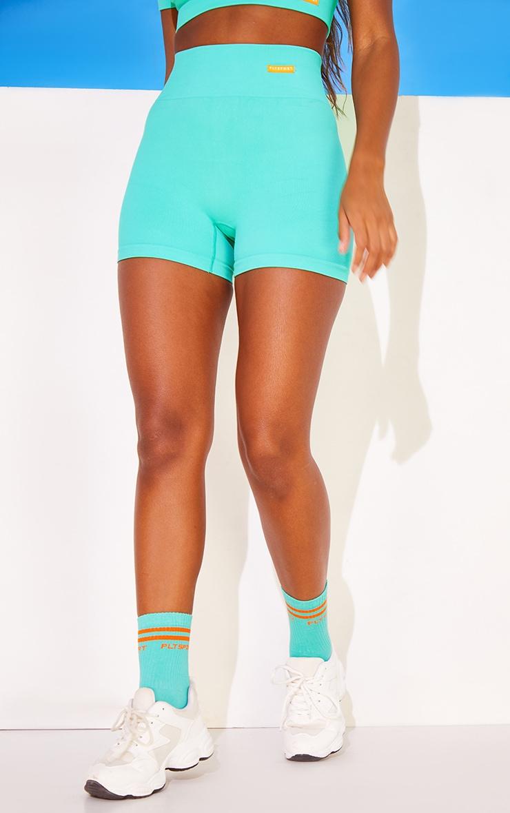 Turquoise Basic Seamless Badge Booty Shorts 2