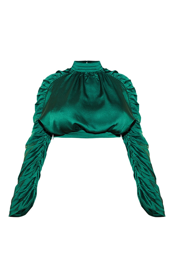 Plus Emerald Green Satin Ruched Sleeve Crop Top 3