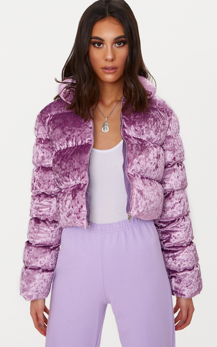 Lilac Crushed Velvet Cropped Puffer Jacket 1