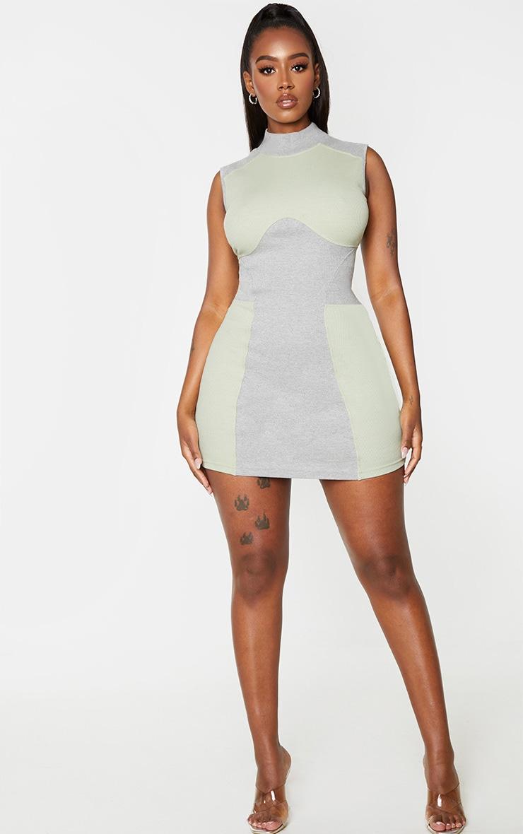 Shape Sage Green Thick Rib Contrast Panel Sleeveless Bodycon Dress 3