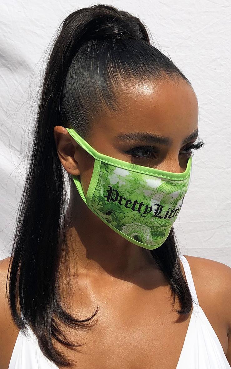 PRETTYLITTLETHING Green Dragon Gothic Print Fashion Mask 2