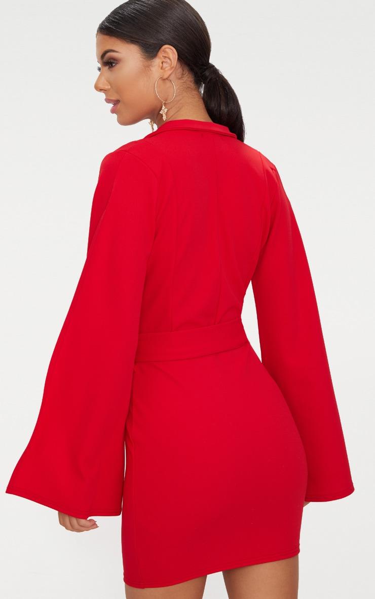 Red Split Sleeve Blazer Dress  2