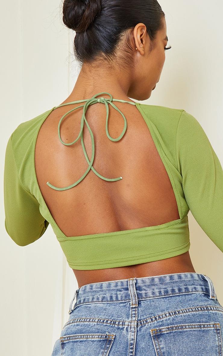 Green Crepe Backless Long Sleeve Crop Top 4