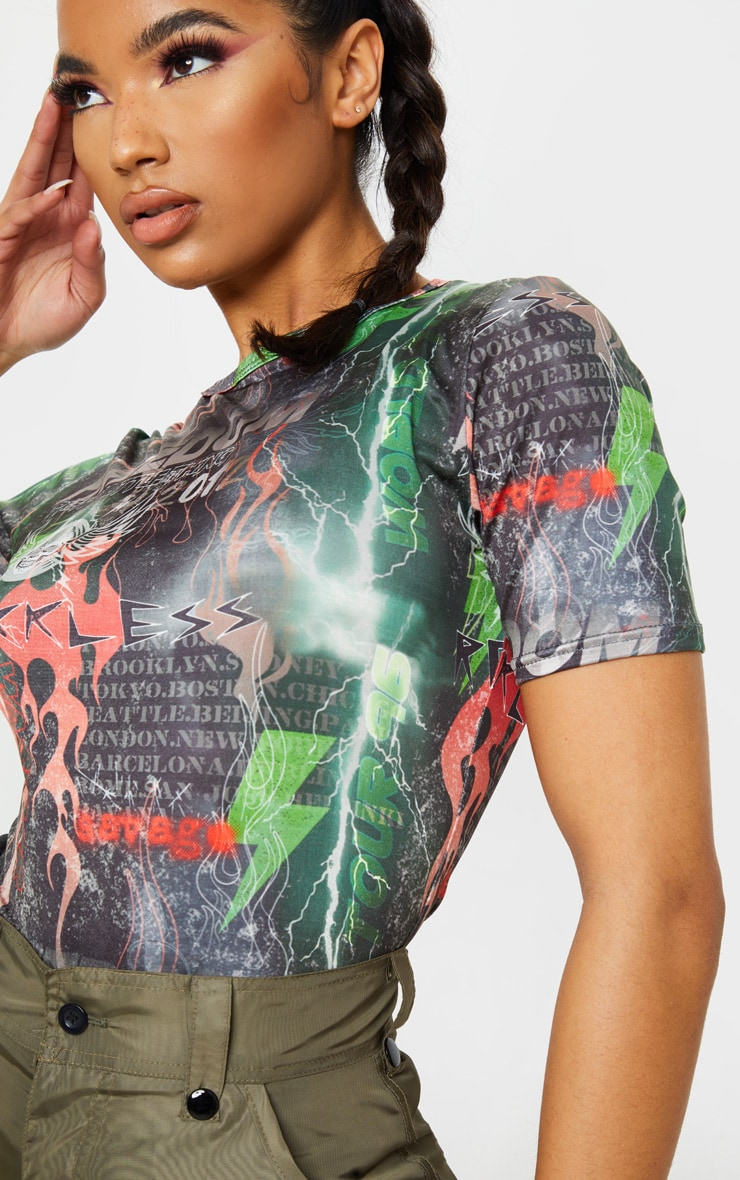 PRETTYLITTLETHING Multi Printed Slinky Fitted T Shirt 5
