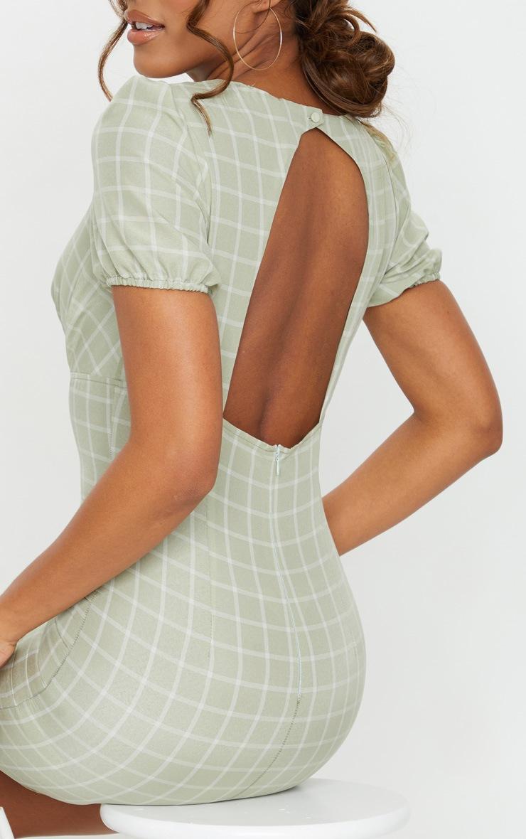 Sage Green Check Print Cut Out Back Detail Bodycon Dress 4