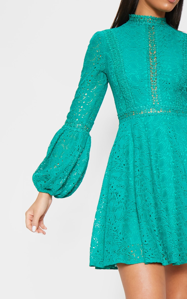 Green Lace Long Sleeve Skater Dress 5