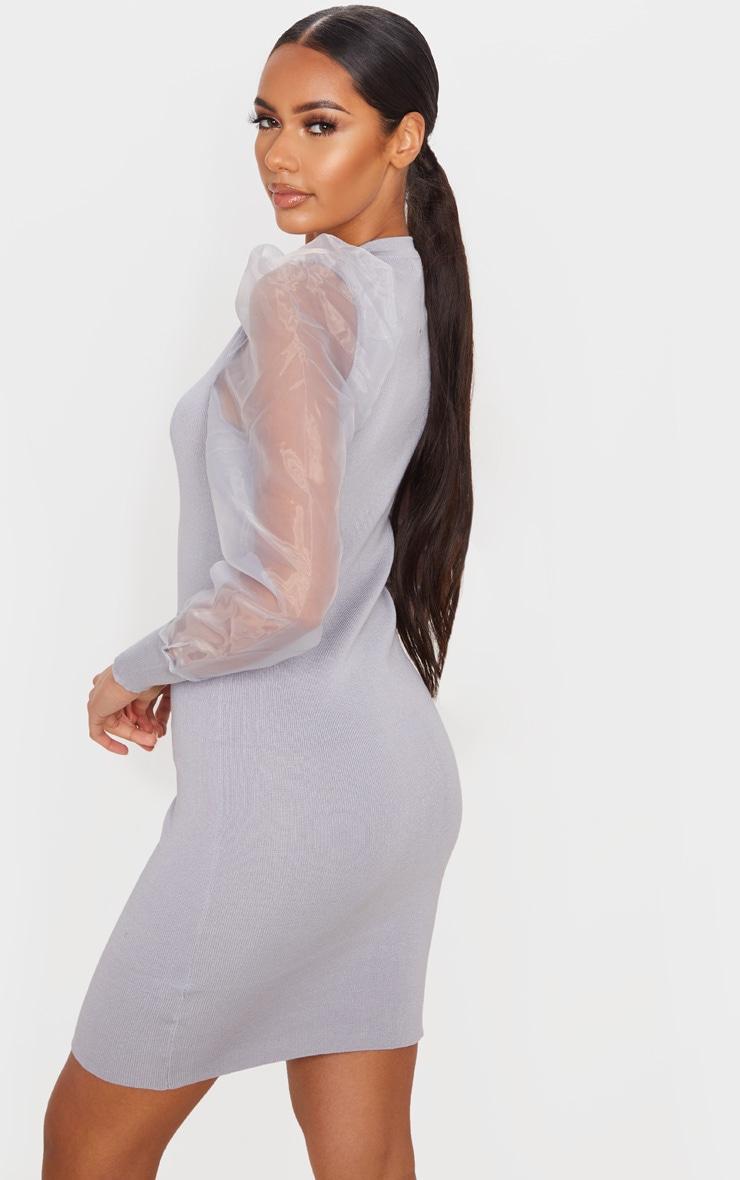 Grey Organza Puff Sleeve Dress 2