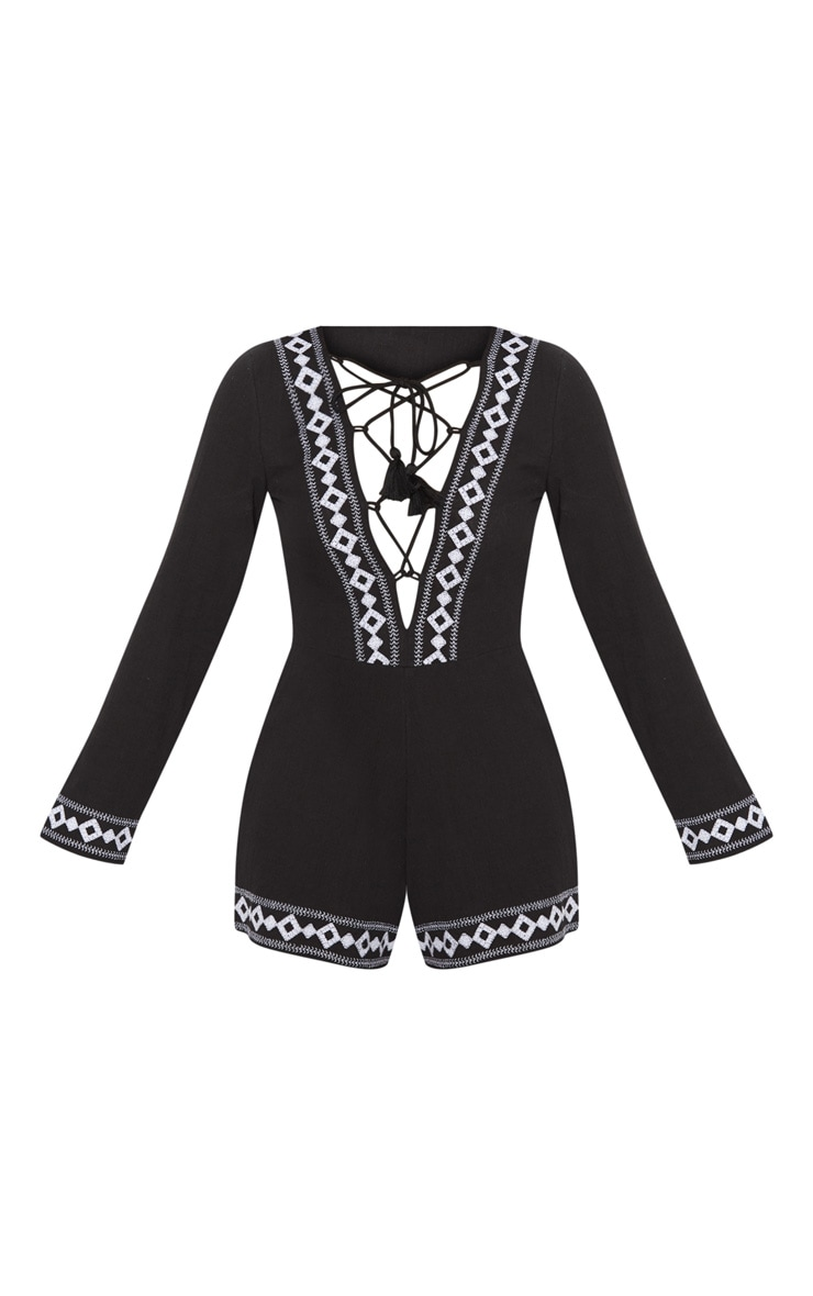 Black Embroidered Long Sleeve Lace up Playsuit 3