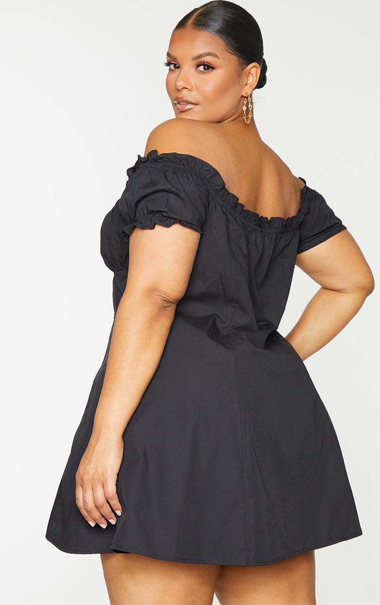 Plus Black Button Front Puff Sleeve Shift Dress 2