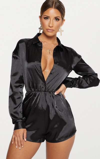 8cc78b2b476 Black Satin Shirt Playsuit