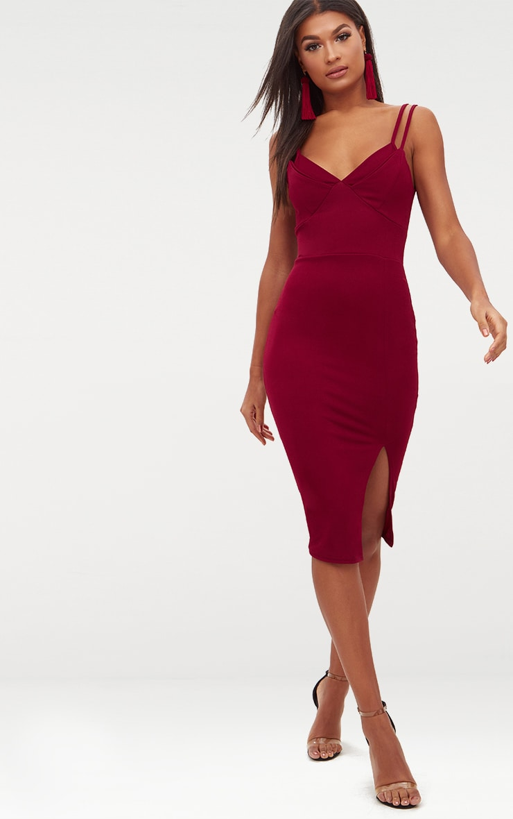 Burgundy Double Strap Midi Dress 1