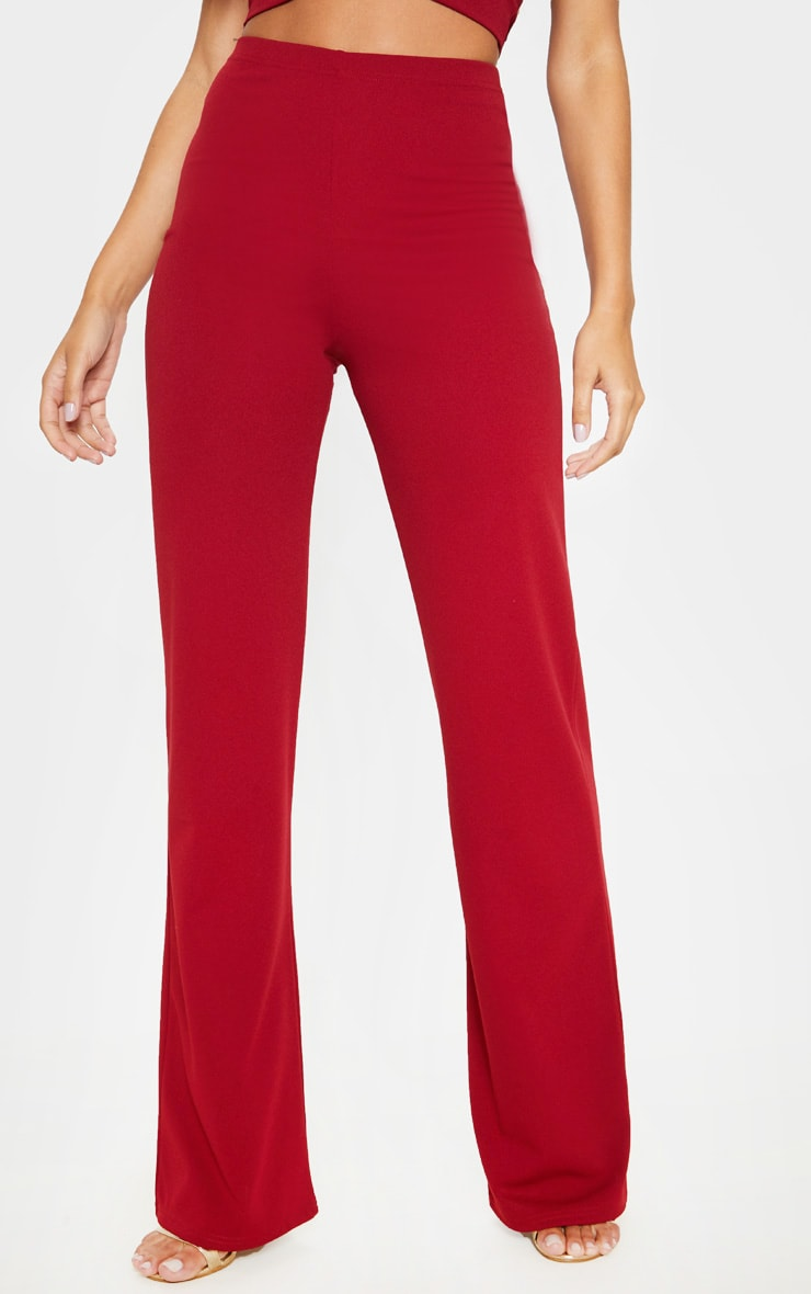 Scarlet Red Crepe High Waisted Wide Leg Pants 2