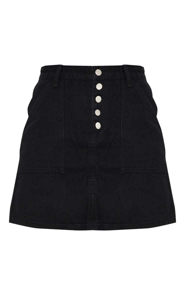 Black Button Up Denim Skirt 6