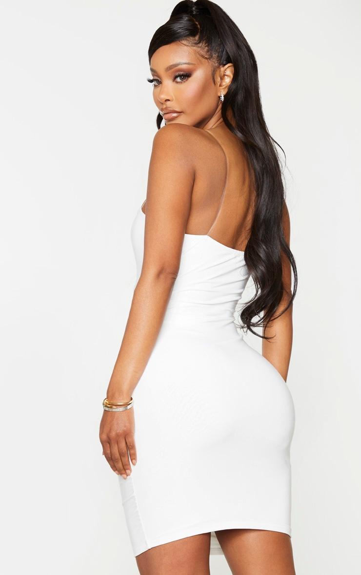 Shape White Slinky Clear Strap Bodycon Dress 2